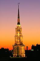 Park Street church steeple sunset spire, Boston, MA