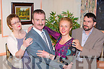DRAMA: Donal Pigott (centre) plays a politician trying to have an affair with a secretary Ann Murphy, Bridget Cahillane and Karl Falvey play their spouses in The CYMS Players adaptation of Ray Cooney's play 'Out Of Order' which they will perform in the CYMS hall, Killorglin from the 18th-20th and 25th-27th March..