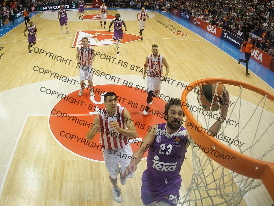 Kosarka Euroleague season 2016-2017<br /> Euroleague <br /> Crvena Zvezda v Real Madrid<br /> Sergio Llull (R) and Milko Bjelica<br /> Beograd, 22.12.2016.<br /> foto: Srdjan Stevanovic/Starsportphoto &copy;