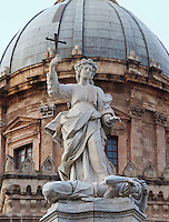 Saint Rosalia, patron saint of Palermo, Sicily, Italy, sculpture by Vincenzo Vitagliano in 1744, located in front of the Duomo (Cathedral) of Palermo. 18th century dome by Ferdinando Fuga visible in the background. Picture by Manuel Cohen