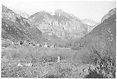 Distant valley view of Telluride with mountain peak on horizon.<br /> RGS  Telluride, CO