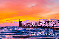 64795-02702 South Haven Lighthouse at sunset South Haven,  MI