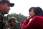 Tunis, Tunisia. January 26th 2011.Tunisian talks and thanks the army on the Kasbah Square......