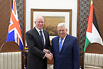 Palestinian President Mahmoud Abbas, meets with Australian Governor-General, Mr David Hurley, in the West Bank city of Ramallah, on January 22, 2020. Photo by Thaer Ganaim