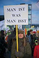 """Bis zu 25.000 Menschen demonstrierten am Samstag den 19. Januar 2013 unter dem Motto """"Wir haben es satt"""" fuer eine Abkehr von der industriellen Landwirtschaft. Der Protest richtete sich u.a. gegen Massentierhaltung, den Einsatz von  Pestiziden auf den Feldern und einen wachsenden Preisdruck auf Kleinbauern.<br />19.1.2013, Berlin<br />Copyright: Christian-Ditsch.de<br />[Inhaltsveraendernde Manipulation des Fotos nur nach ausdruecklicher Genehmigung des Fotografen. Vereinbarungen ueber Abtretung von Persoenlichkeitsrechten/Model Release der abgebildeten Person/Personen liegen nicht vor. NO MODEL RELEASE! Don't publish without copyright Christian-Ditsch.de, Veroeffentlichung nur mit Fotografennennung, sowie gegen Honorar, MwSt. und Beleg. Konto:, I N G - D i B a, IBAN DE58500105175400192269, BIC INGDDEFFXXX, Kontakt: post@christian-ditsch.de<br />Urhebervermerk wird gemaess Paragraph 13 UHG verlangt.]"""