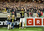 Solna 2015-10-04 Fotboll Allsvenskan AIK - Malm&ouml; FF :  <br /> AIK:s Nils-Eric Johansson med sin son sjunger med AIK:s supportrar efter matchen mellan AIK och Malm&ouml; FF <br /> (Foto: Kenta J&ouml;nsson) Nyckelord:  AIK Gnaget Friends Arena Allsvenskan Malm&ouml; MFF jubel gl&auml;dje lycka glad happy supporter fans publik supporters