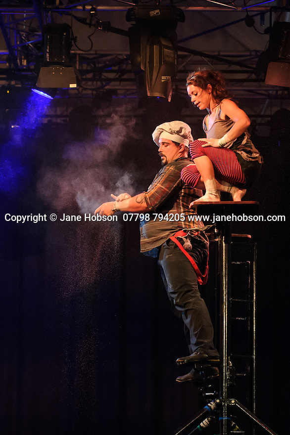 """Edinburgh, UK. 13.08.2015. Lost In Translation Circus presents """"The Hogwallops"""", in the Lafayette, in the new Circus Hub, as part of the Edinburgh Festival Fringe. Photograph © Jane Hobson."""