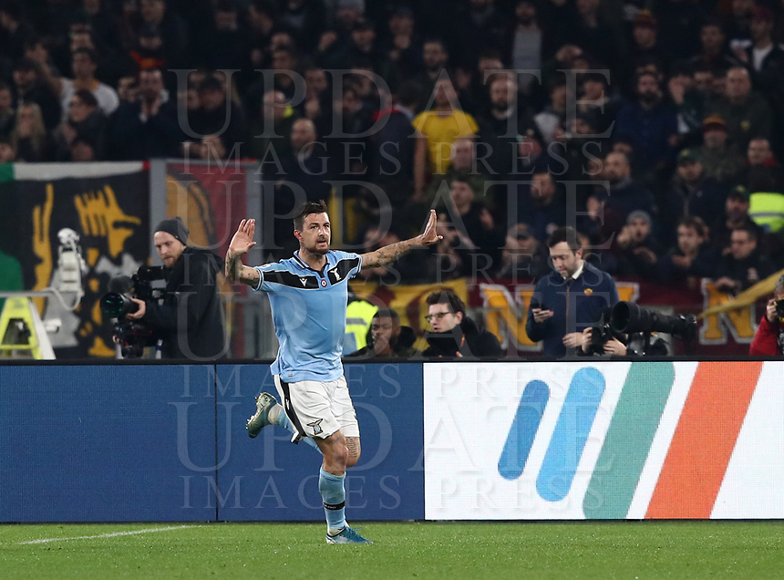 Football, Serie A: AS Roma - S.S. Lazio, Olympic stadium, Rome, January 26, 2020. <br /> Lazio's Francesco Acerbi celebrates after scoring during the Italian Serie A football match between Roma and Lazio at Olympic stadium in Rome, on January,  26, 2020. <br /> UPDATE IMAGES PRESS/Isabella Bonotto