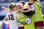 ORLANDO, FL - DECEMBER 03: Teammates celebrate a goal by Kyra Carusa #12 of Stanford University against UCLA during the Division I Women's Soccer Championship held at Orlando City SC Stadium on December 3, 2017 in Orlando, Florida. Stanford defeated UCLA 3-2 for the national title. (Photo by Jamie Schwaberow/NCAA Photos via Getty Images)