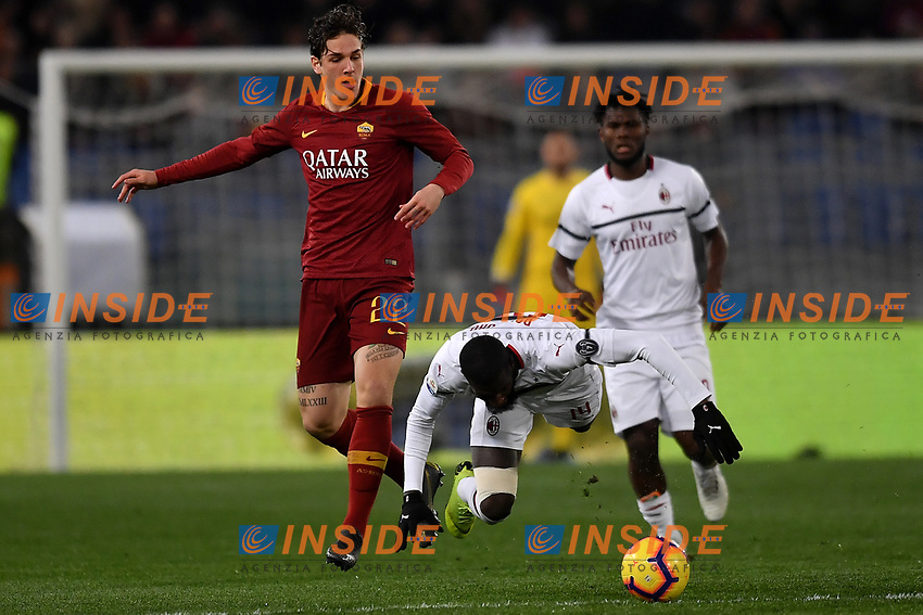 Nicolo Zaniolo of AS Roma and Tiemque Bakayoko of AC Milan compete for the ball during the Serie A 2018/2019 football match between AS Roma and AC Milan at stadio Olimpico, Roma, February 3, 2019 <br />  Foto Andrea Staccioli / Insidefoto