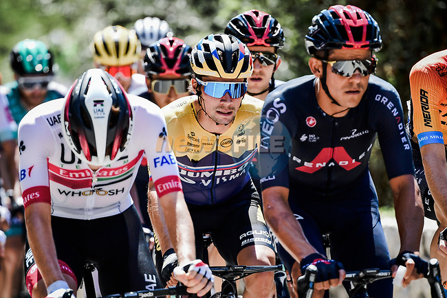 The peloton including Slovenian Champion Primoz Roglic (SLO) Team Jumbo-Visma during Stage 2 of Tour de France 2020, running 186km from Nice Haut Pays to Nice, France. 30th August 2020.<br /> Picture: ASO/Alex Broadway | Cyclefile<br /> All photos usage must carry mandatory copyright credit (© Cyclefile | ASO/Alex Broadway)