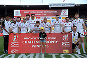 January 27th, Hamilton, New Zealand;  England Team pose with the Challenge Trophy after their win over Kenya during the Day 2 of the HSBC World Rugby Sevens Series 2019, FMG Stadium Waikato,Hamilton, Sunday 27th January 2019.