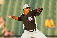 Hickory Crawdads relief pitcher Jose Monegro (40) in action against the Kannapolis Intimidators at CMC-Northeast Stadium on July 26, 2013 in Kannapolis, North Carolina.  The Intimidators defeated the Crawdads 2-1.  (Brian Westerholt/Four Seam Images)