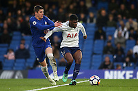 Timothy Eyoma of Tottenham shields the ball from Chelsea's Harvey St Clair during Chelsea Under-23 vs Tottenham Hotspur Under-23, Premier League 2 Football at Stamford Bridge on 13th April 2018