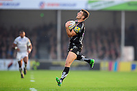 Ollie Devoto of Exeter Chiefs claims the ball. Aviva Premiership match, between Exeter Chiefs and Bath Rugby on October 30, 2016 at Sandy Park in Exeter, England. Photo by: Patrick Khachfe / Onside Images