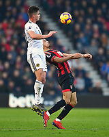 Leander Dendoncker of Wolverhampton Wanderers wins a header from Dominic Solanke of AFC Bournemouth during AFC Bournemouth vs Wolverhampton Wanderers, Premier League Football at the Vitality Stadium on 23rd February 2019