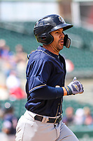 San Antonio Missions catcher Tuffy Gosewisch (3) jogs to first base during a Pacific Coast League game against the Iowa Cubs on May 2, 2019 at Principal Park in Des Moines, Iowa. Iowa defeated San Antonio 8-6. (Brad Krause/Four Seam Images)