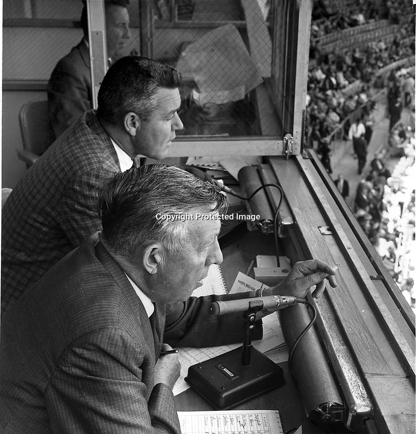 San Francisco Giants radio announcer team Lon Simmons and Russ Hodges, (1965 photo by Ron Riesterer/photoshelter)
