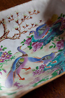 Detail of a delicately painted Chinoiserie dish