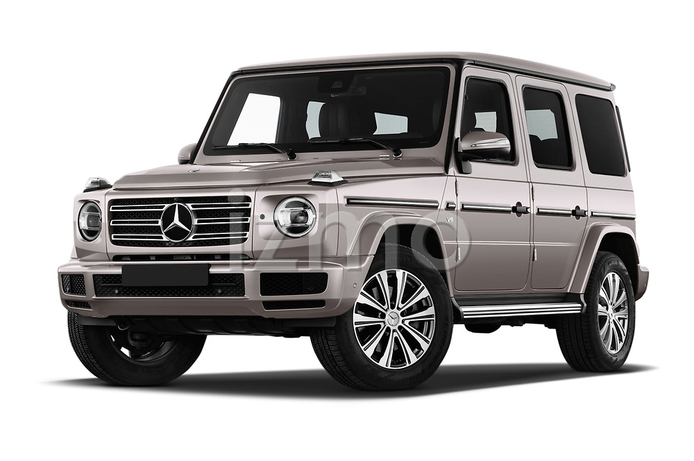 Stock pictures of low aggressive front three quarter view of 2019 Mercedes Benz G-Class Base 5 Door SUV Low Aggressive
