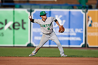 Clinton LumberKings second baseman Bryson Brigman (8) throws to first base during a game against the West Michigan Whitecaps on May 3, 2017 at Fifth Third Ballpark in Comstock Park, Michigan.  West Michigan defeated Clinton 3-2.  (Mike Janes/Four Seam Images)