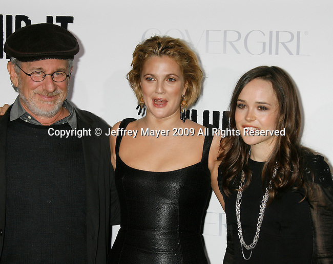 """HOLLYWOOD, CA. - September 29: Steven Spielberg, Drew Barrymore and Ellen Page arrive at the Los Angeles premiere of """"Whip It"""" at the Grauman's Chinese Theatre on September 29, 2009 in Hollywood, California."""