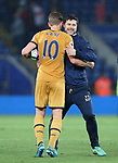 Tottenham's Harry Kane celebrates with Mauricio Pochettino during the Premier League match at the King Power Stadium, Leicester. Picture date: May 18th, 2017. Pic credit should read: David Klein/Sportimage