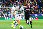 Toni Kroos of Real Madrid competes for the ball with Dries Mertens of SSC Napoli  during the match of Champions League between Real Madrid and SSC Napoli  at Santiago Bernabeu Stadium in Madrid, Spain. February 15, 2017. (ALTERPHOTOS)