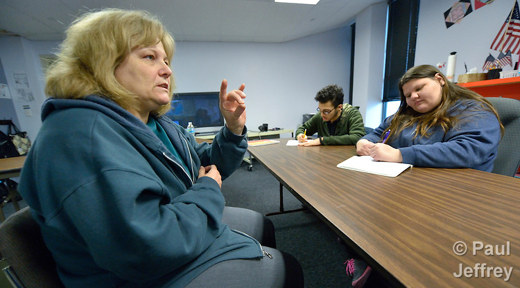 Diane Smith teaches a class of deaf students in the school at Lover's Lane United Methodist Church in Dallas, Texas.