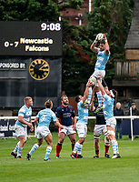 Darren Barry of Newcastle Falcons during the Greene King IPA Championship match between London Scottish Football Club and Newcastle Falcons at Richmond Athletic Ground, Richmond, United Kingdom on 12 October 2019. Photo by Liam McAvoy.