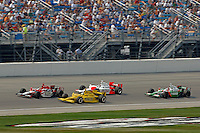 11 September, 2005, Joliet,IL,USA<br /> Dan Wheldon leads #4 Tomas Schekter, #6 Sam Hornish, Jr. and #11 Tony Kanaan.<br /> Copyright&copy;F.Peirce Williams 2005