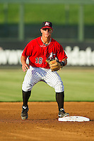 Eric Grabe (18) of the Kannapolis Intimidators waits for a throw at second base during the South Atlantic League game against the West Virginia Power at CMC-Northeast Stadium on July 9, 2013 in Kannapolis, North Carolina.  The Power defeated the Intimidators 3-1.   (Brian Westerholt/Four Seam Images)