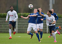 Nathan Broadhead of Everton battles with Keanan Bennetts of Tottenham Hotspur during the U23 - Premier League 2 match between Tottenham Hotspur U23 and Everton at Tottenham Training Ground, Hotspur Way, England on 15 January 2018. Photo by Vince  Mignott / PRiME Media Images.