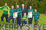 Fashion Show: Some members of the Kerry Hurling Team who launched the Kerry Hurlers Fashion Show on Monday evening in Ballyroe Heights Hotel, Tralee which will be held in the Hotel on 27th August 2011, L-r: Ardian Ryle, Eamon Fitzgerald, John Egan, Mark Sullivan (GM Ballyroe Heights Hotel), Fiona?n Egan with the Christy Ring Cup,James Godley and Gary O'Brien..