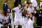 GREENSBORO, NC - DECEMBER 02: Messiah College celebrates after winning the Division III Men's Soccer Championship held at UNC Greensboro Soccer Stadium on December 2, 2017 in Greensboro, North Carolina. Messiah College defeated North Park University 2-1 to win the national title. (Photo by John Joyner/NCAA Photos via Getty Images)
