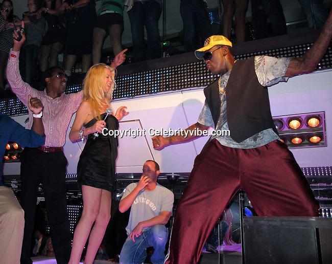 Jeffery Dread, Tara Reid, Dennis Rodman..VIP Room Nightclub..St. Tropez, France..Thursday, July 29, 2010..Photo ByiSnaper.com/ CelebrityVibe.com.To license this image please call (212) 410 5354; or Email:CelebrityVibe@gmail.com ;.website: www.CelebrityVibe.com.