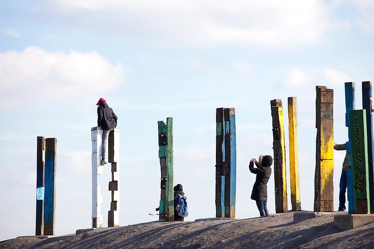 Europa, DEU, Deutschland, Nordrhein Westfalen, NRW, Ruhrgebiet, Bottrop, Halde Haniel, Installation Totems vom baskischen Maler und Bildhauer Agust&iacute;n Ibarrola, Kategorien und Themen, Kunst, Kunstwerke, Bildende Kunst, Kuenste, Skulptur, Skulpturen, Tourismus, Touristik, Touristisch, Touristisches, Urlaub, Reisen, Reisen, Ferien, Urlaubsreise, Freizeit, Reise, Reiseziele, Ferienziele<br /> <br /> [Fuer die Nutzung gelten die jeweils gueltigen Allgemeinen Liefer-und Geschaeftsbedingungen. Nutzung nur gegen Verwendungsmeldung und Nachweis. Download der AGB unter http://www.image-box.com oder werden auf Anfrage zugesendet. Freigabe ist vorher erforderlich. Jede Nutzung des Fotos ist honorarpflichtig gemaess derzeit gueltiger MFM Liste - Kontakt, Uwe Schmid-Fotografie, Duisburg, Tel. (+49).2065.677997, archiv@image-box.com, www.image-box.com]