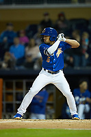 Kean Wong (5) of the Durham Bulls at bat against the Gwinnett Braves at Durham Bulls Athletic Park on April 20, 2019 in Durham, North Carolina. The Bulls defeated the Braves 3-2 in game two of a double-header. (Brian Westerholt/Four Seam Images)