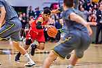 18 February 2018: Hartford University Hawk Guard J.R.Lynch, a Junior from Hoboken, NJ, in action against the University of Vermont Catamounts at Patrick Gymnasium in Burlington, Vermont. The Catamounts fell to the Hawks 69-68 in their America East Conference matchup. Mandatory Credit: Ed Wolfstein Photo *** RAW (NEF) Image File Available ***