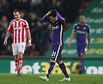 David Silva of Manchester City distraught after Stoke equalised - Barclays Premier League - Stoke City vs Manchester City - Britannia Stadium - Stoke on Trent - England - 11th February 2015 - Picture Simon Bellis/Sportimage
