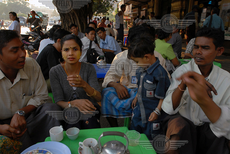A downtown teashop. These form the social backbone of city life in Burma, and are where much gossip and political rumour are traded.