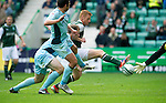 Hibs v St Johnstone...25.08.12   SPL.Eoin Doyle stabs home the ball to make it 2-0.Picture by Graeme Hart..Copyright Perthshire Picture Agency.Tel: 01738 623350  Mobile: 07990 594431