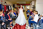 Sinead O'Sullivan modeling a wedding dress at the St Vincent de Paul shop fashion show in the shop on Thursday evening