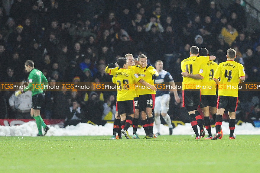 Goal three for Watford struck by Matej Vydra of Watford. He celebrates with his team mates.  - Watford vs Huddersfield Town - NPower Championship Football at Vicarage Road Stadium, Watford - 19/01/13 - MANDATORY CREDIT: Anne-Marie Sanderson/TGSPHOTO - Self billing applies where appropriate - 0845 094 6026 - contact@tgsphoto.co.uk - NO UNPAID USE.