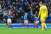 Marcus Harness of Portsmouth right celebrates scoring the first goal with Andy Cannon of Portsmouth during Portsmouth vs AFC Wimbledon, Sky Bet EFL League 1 Football at Fratton Park on 11th January 2020
