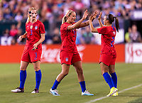PHILADELPHIA, PA - AUGUST 29: Lindsey Horan #9 is substituted by Mallory Pugh #2 of the United States during a game between Portugal and the USWNT at Lincoln Financial Field on August 29, 2019 in Philadelphia, PA.