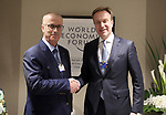 Palestinian Prime Minister Rami Hamdallah meets with World Economic Forum (WEF) President Borge Brende, during the annual meeting of the World Economic Forum in Davos, Switzerland, January 22, 2019. Photo by Prime Minister Office