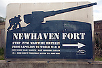 Sign for Newhaven Fort, East Sussex, England