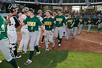 Siena Saints Davis Zerr (5), Carson Dunkel (3), John Nolan (21), Brian Kelly (14), Tommy Miller (42) and Nico Ramos (44) after a game against the UCF Knights on February 17, 2019 at John Euliano Park in Orlando, Florida.  UCF defeated Siena 7-1.  (Mike Janes/Four Seam Images)