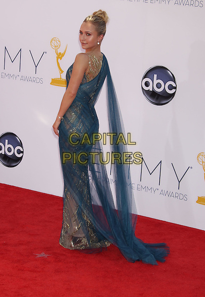 Hayden Panettiere.The 64th Annual Primetime Emmy Awards - Arrivals, held at Nokia Theatre L.A. Live in Los Angeles, California, USA..September 23rd, 2012.emmys full length dress gold tulle one shoulder sari blue side looking over shoulder .CAP/ADM/RE.©Russ Elliot/AdMedia/Capital Pictures.